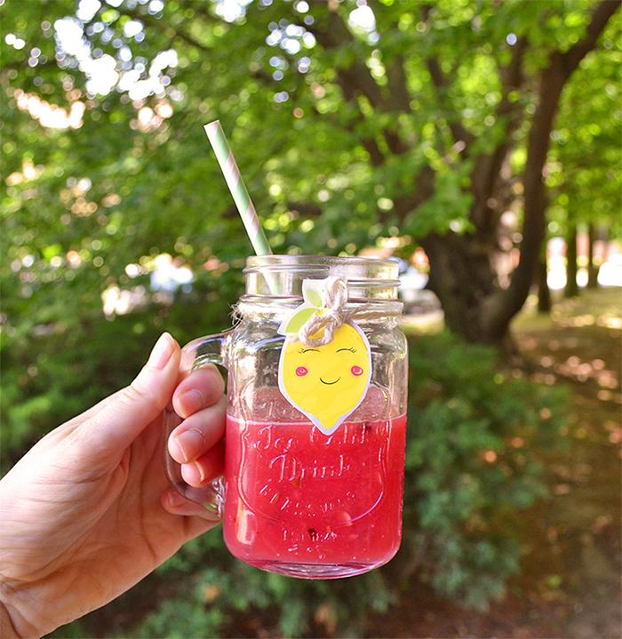 succo di anguria da bere nella mason jar
