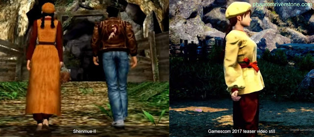 A comparison of Shenhua's outfit in Shenmue II (left) vs the teaser shown at Gamescom 2017.