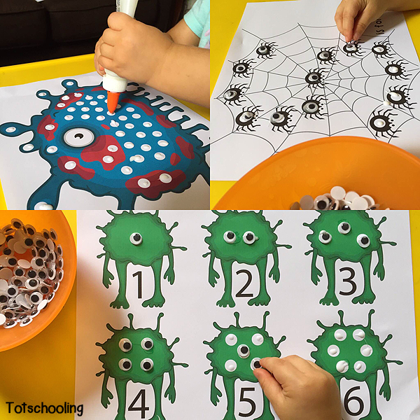 Free Googly Eye Printables featuring counting monster eyes, M is for monster and S is for spider. Glue or stick googly eyes in the white circles on the sheets.