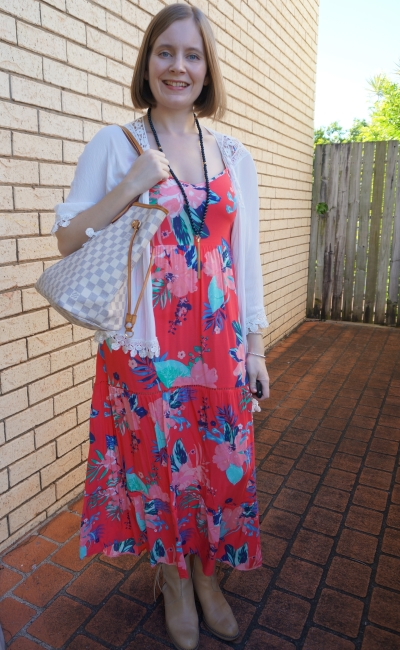 Kmart Tropicana sleeveless tiered maxi dress with white crochet trim kimono acne pistol ankle boots autumn dinner | awayfromblue