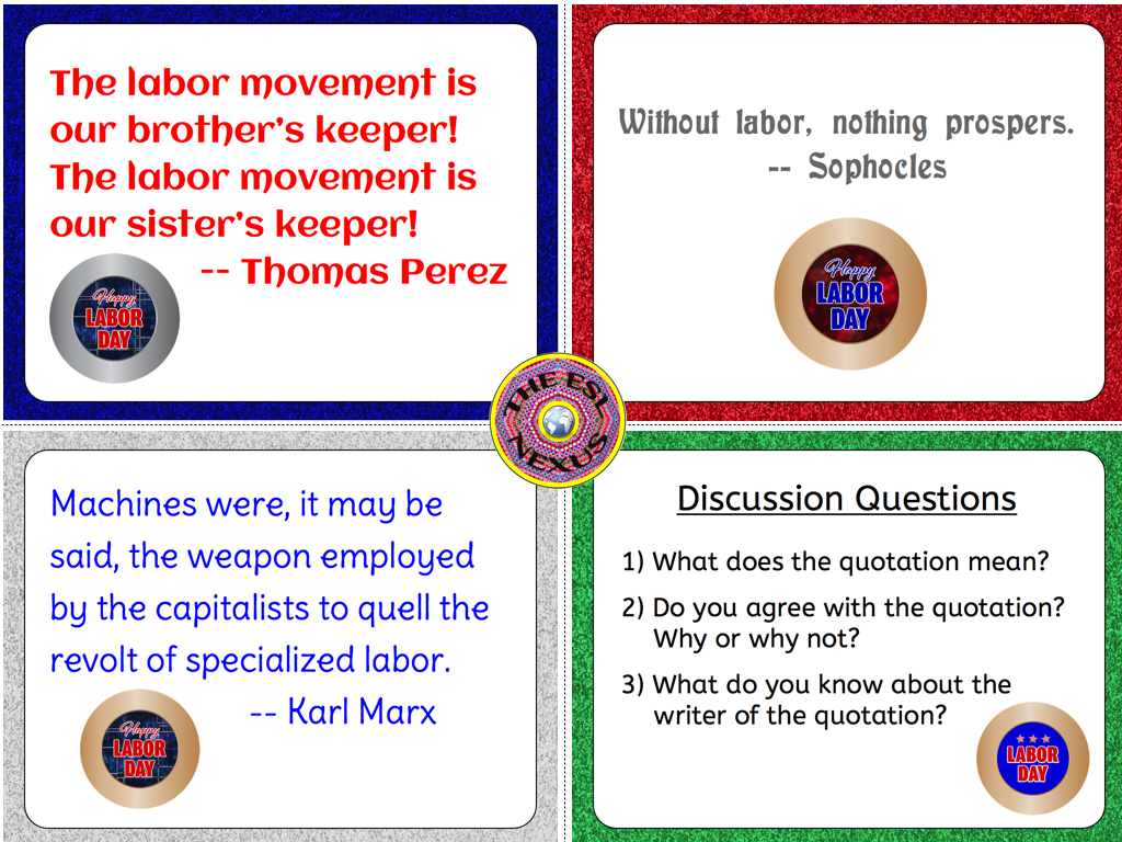 Quotations And Questions About Labor For Labor Day The Esl Nexus