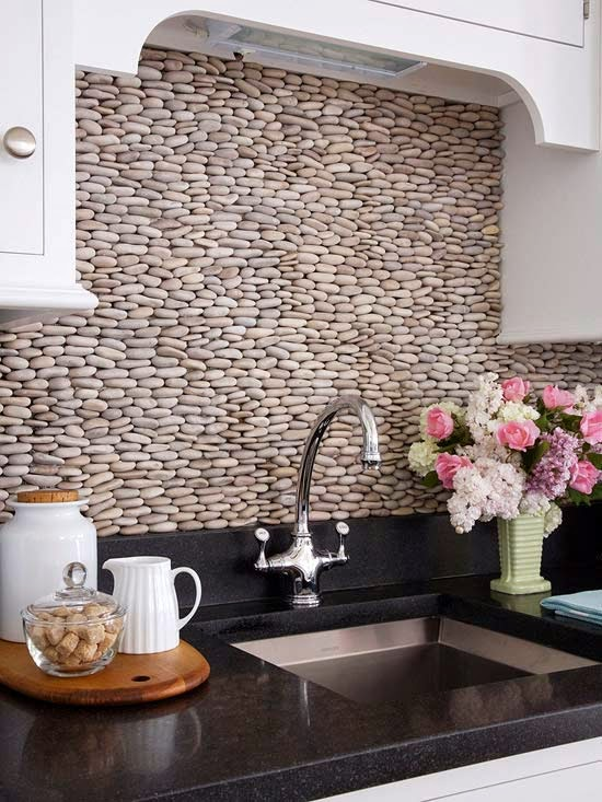 [DIY] Pebble Backsplash For Natural Look of the Kitchen
