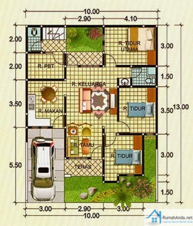 denah rumah ukuran 9x9 m 1 2 lantai 2