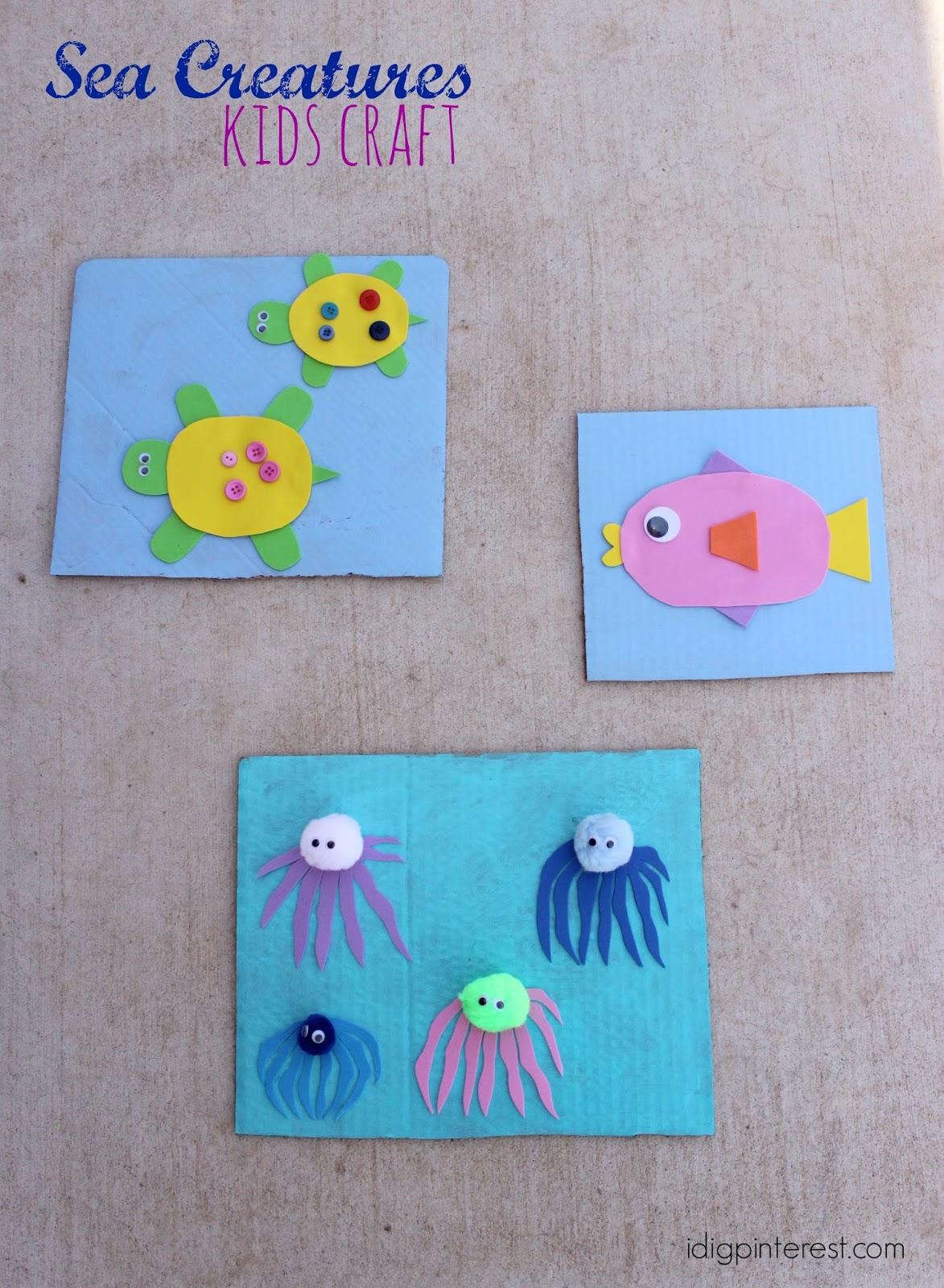 Sea Creatures Kids Craft I Dig Pinterest