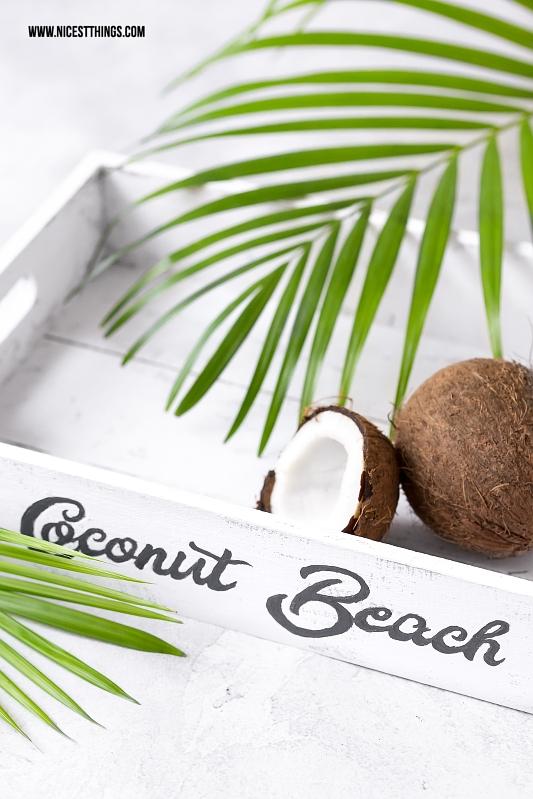 DIY Tablett Getränkekiste weiss Coconut Beach Retro Vintage Schriftzug