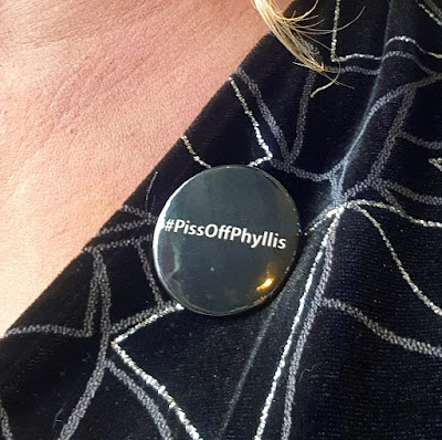 #PissOffPhyllis badge to promote bowel cancer awareness