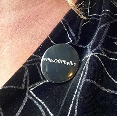 #PissOffPhyllis badge to promote bowel cancer awareness