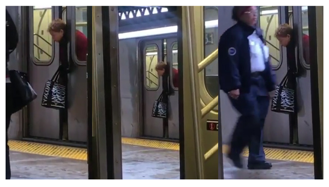 Passengers Ignore Old Woman Head Stuck on Subway Door