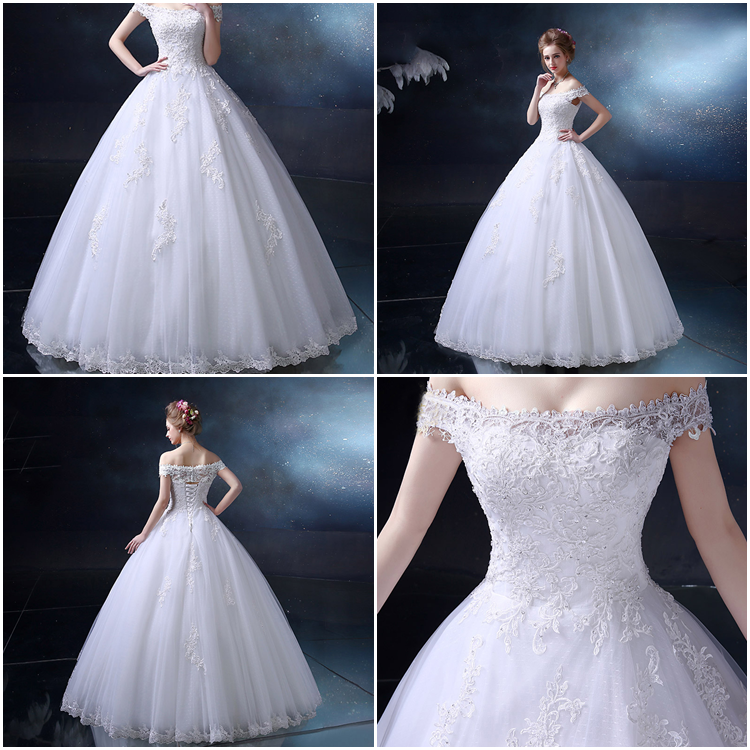 Stunning Off-The-Shoulder Appliques Ball Gown Wedding