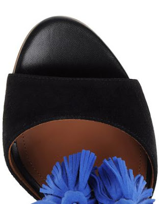 Malone Souliers Black Suede High heels stiletto sandals with blue tassels