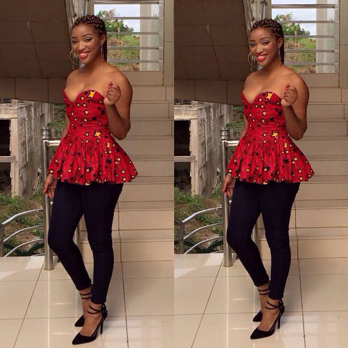 New Ankara Styles Siks Nd Tops: 40 Pictures Of The Latest Ankara Tops With Jeans Style