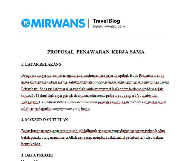 Contoh Proposal Penawaran Barang Jasa Kerjasama Mirwan Choky