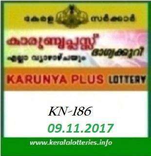 Kerala lottery result of Karunya Plus KN-186  on 09.11.2017