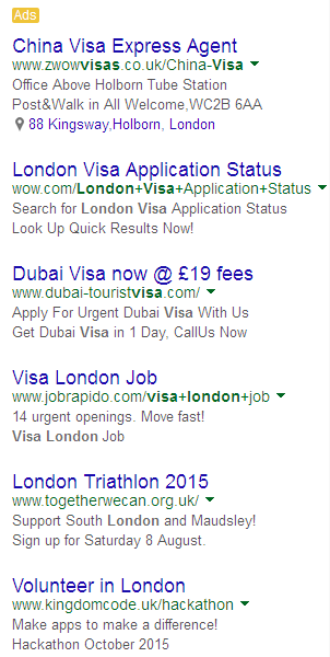 London Visa ads example