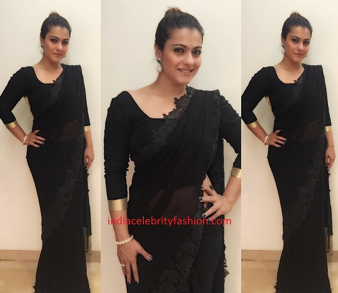 Kajol in Manish Malhotra Black Saree