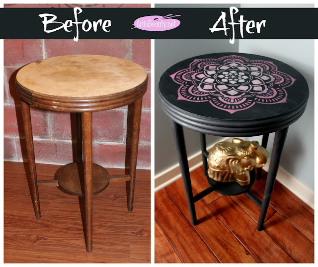 BEFORE AND AFTER MANDALA STENCIL HAND PAINTED ROUND TABLE MAKEOVER