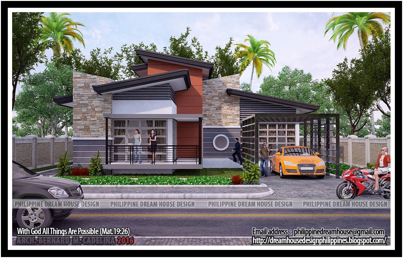 Philippine dream house design four bedrooms bungalow for Small modern bungalow house design