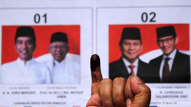 Situng KPU 61%: Jokowi-Amin 56,07%, Prabowo-Sandi 43,93%
