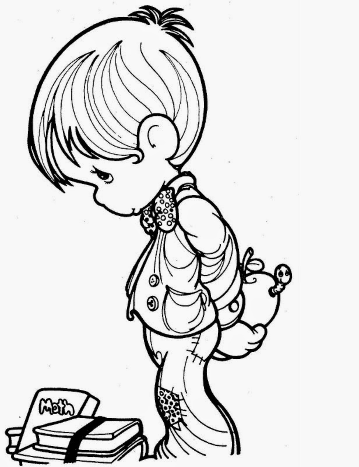 Beautiful Precious Moments Coloring Page for Kids of a ...