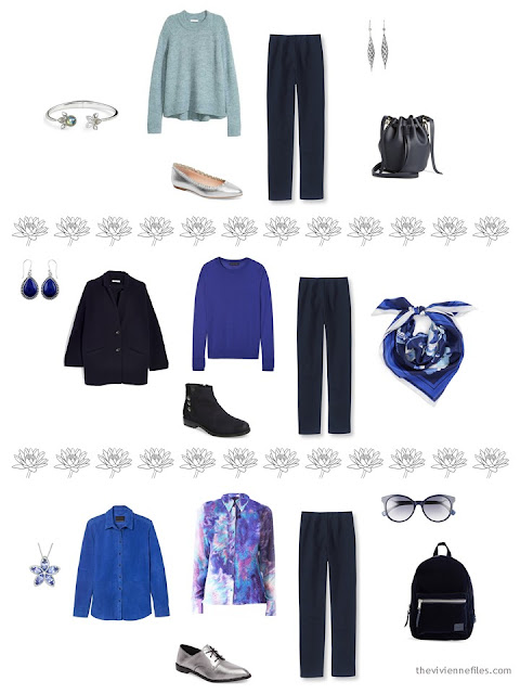 3 ways to wear navy pants from a 4 by 4 Wardrobe inspired by Monet