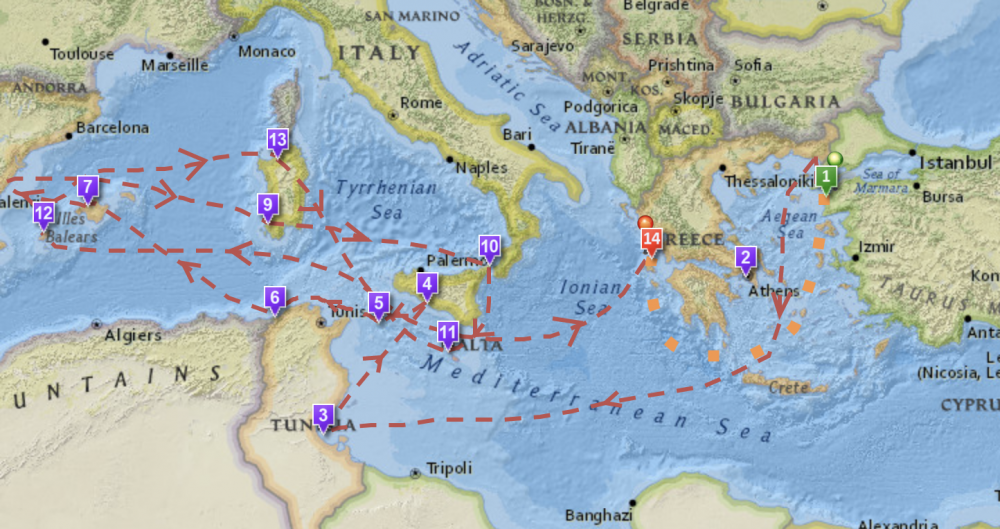Interactive Map Of Odysseus' 10-Year Journey