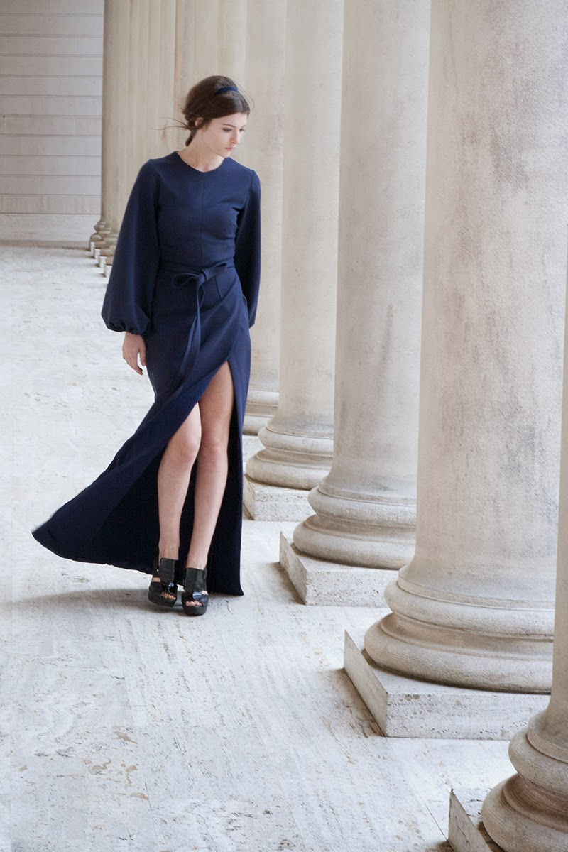 alyssa nicole fall 2014, alyssa nicole designer, san francisco, san francisco fashion, lookbook, couture, navy dress, blue dress, maxi dress, navy gown, bell sleeve gown, navy gown, navy evening gown, bell sleeve dress,