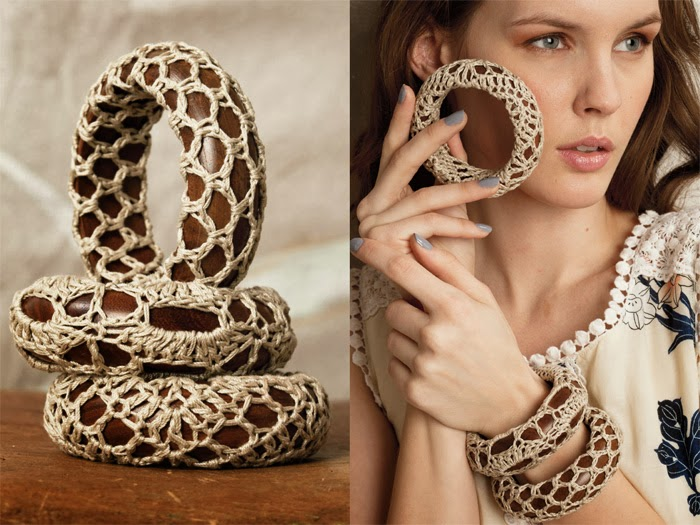 madera, crochet, pulseras forradas de ganchillo, tejemanejes