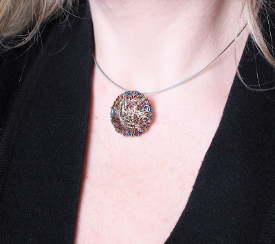 Disc pendant, turquoise gold necklace