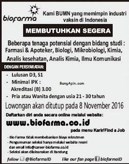 Lowongan Kerja PT. Biofarma Persero