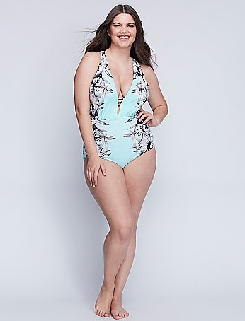 Cut Out One Piece with Built In Plunge Bra Lane Bryant