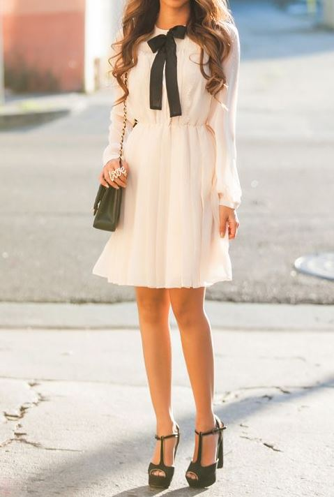stylish look | white dess + bag + black heels