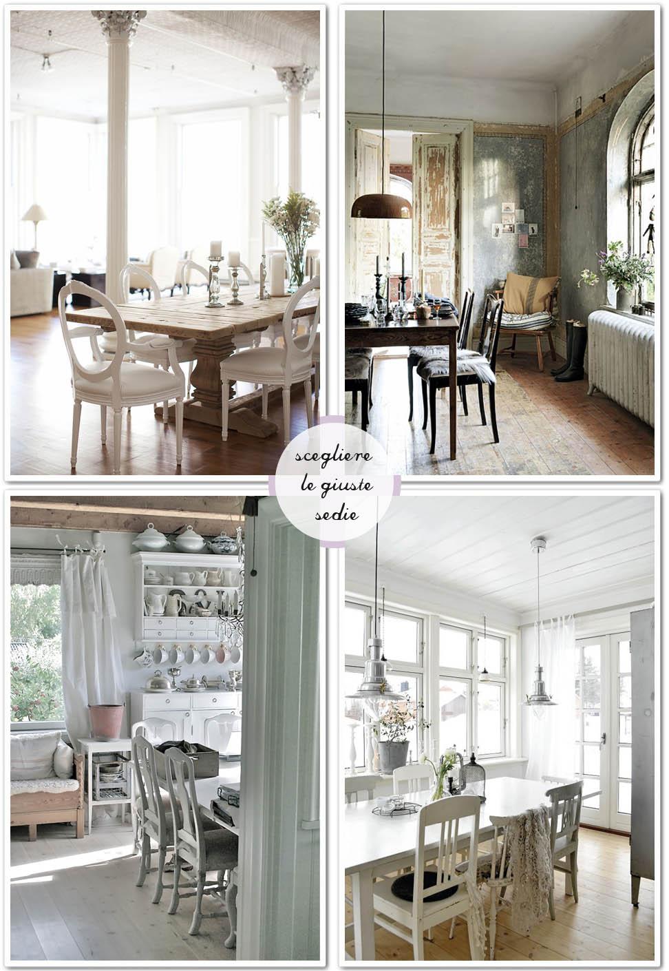 Una sedia per ogni tavolo shabby chic interiors for Tavolo legno con sedie colorate
