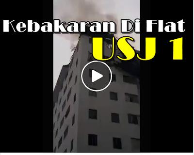 kebakaran flat usj 1, api, terbakar, kebakaran flat, flat terbakar di usj 1, flat tingkat 11 usj 1 terbakar