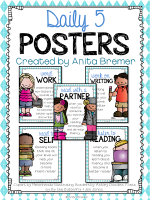 FREE set of Daily 5 posters for your classroom. #Daily5 #freebies #anchorcharts #classroomsetup #classroom #literacy #reading