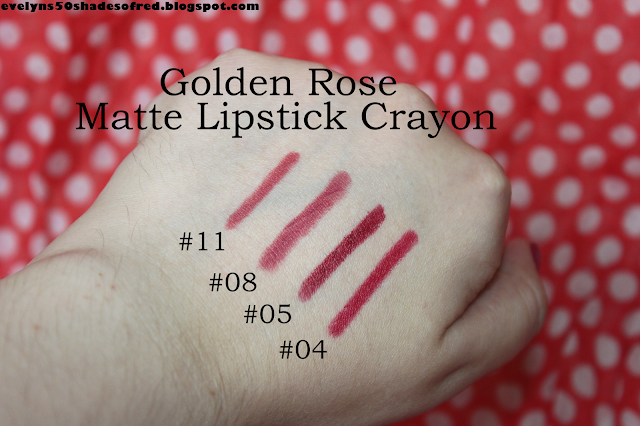 Golden Rose Matte Lipstick Crayon #04, #05, #08, #11