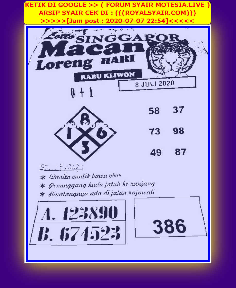 Kode syair Singapore Rabu 8 Juli 2020 71