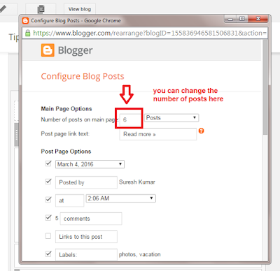 editing the number of posts in blogger step 2