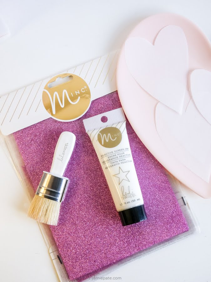 How To Minc Glitter a Stencil Heart Banner by Jamie Pate