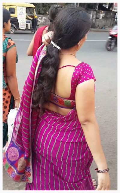 Sexy Back Desi Bhabhi On Indian Street  Maalaamaaal-8871