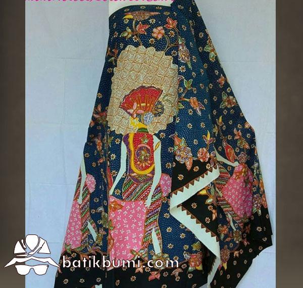 Batik Tulis Motif Penari & Rembulan latar Biru
