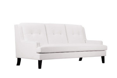 3 seater white fabric sofa