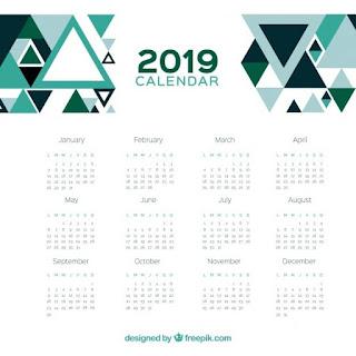 Calendario 2019 con un diseño geométrico
