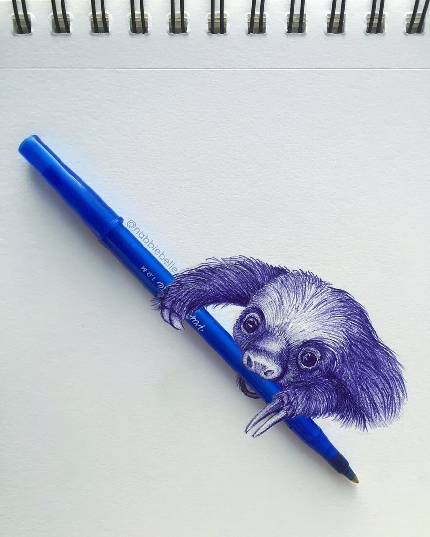 06-Sloth-Annabelle-Marie-Inked-Animals-Drawn-in-Ballpoint-Pen-www-designstack-co