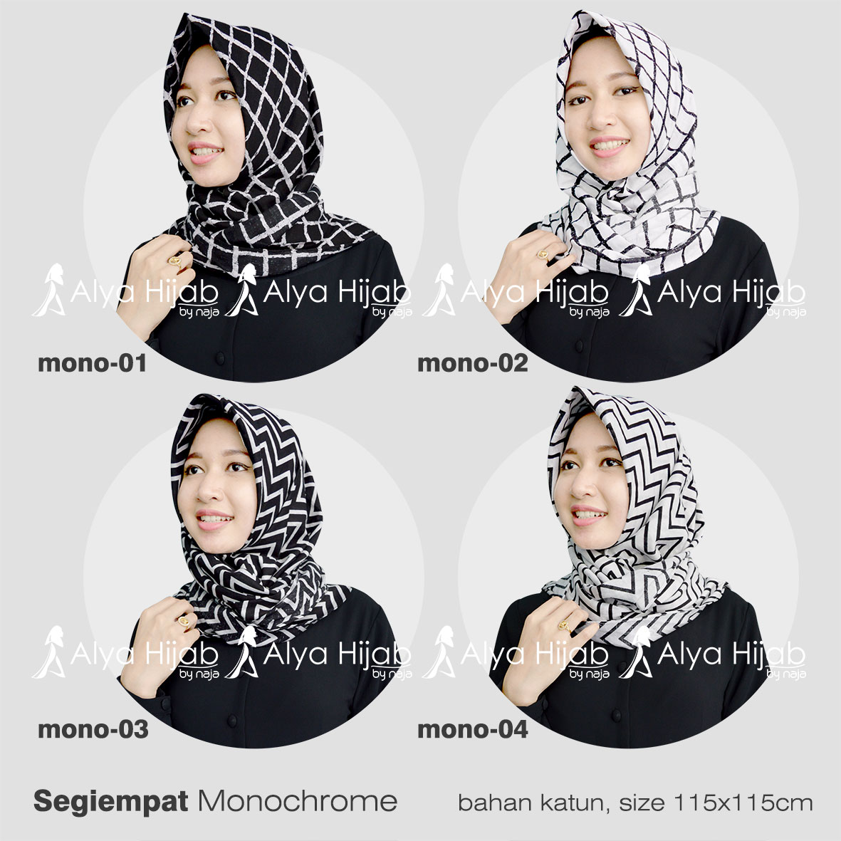 90 Gambar Terbaru Tutorial Hijab Segi Empat Monocrom Untuk Lebaran