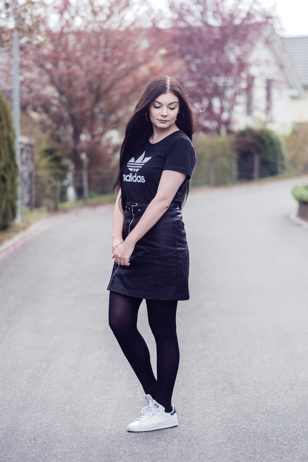 Sporty Minimalist Outfit   Adidas Shirt, Leather Skirt and Sneakers   Rose Kiara Peaches