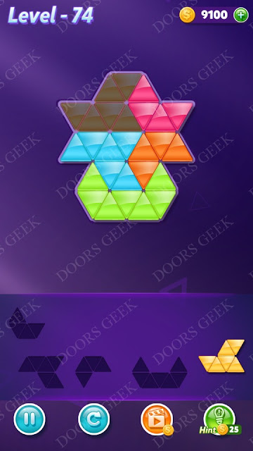 Block! Triangle Puzzle 5 Mania Level 74 Solution, Cheats, Walkthrough for Android, iPhone, iPad and iPod