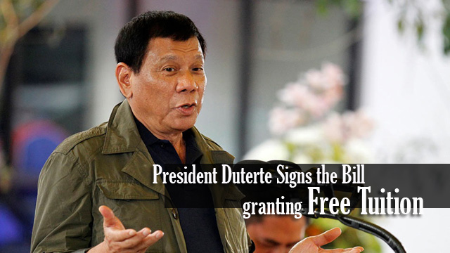 President Duterte Signs the Bill Granting Free Tuition