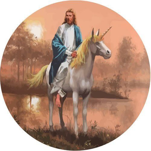 Funny Jesus Riding a Unicorn Picture