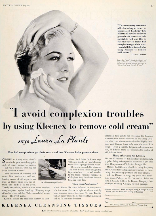 Kleenex, Pictorial Review advertising 1931