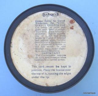 Empire Garage (Grantham) Ltd metal tax disc holder back
